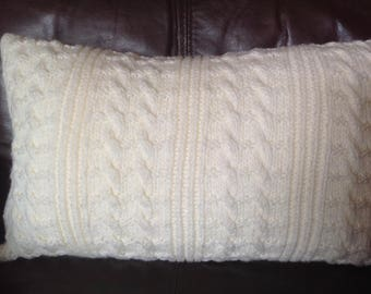 Hand knitted cream rolling cables pattern Aran cushion cover