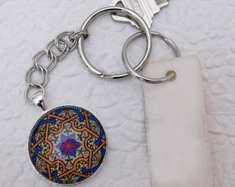 Mandala, Pendant Key Chain, Key Ring, Glass Pendant Key Ring, Gift, Handmade, Key Ring Holder, Silver Key Ring, Key Chain