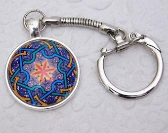 Star, Pendant Key Chain, Key Ring, Glass Pendant Key Ring, Gift, Handmade, Key Ring Holder, Silver Key Ring, Womens Key Chain