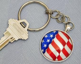 Flag, Pendant Key Chain, Key Ring, Glass Pendant Key Ring, Gift, Handmade, Key Ring Holder, Silver Key Ring, Key Chain