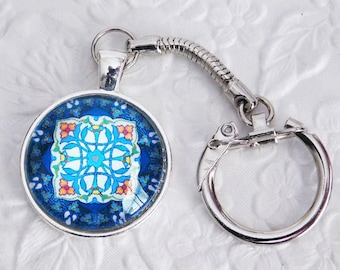Blue, Pendant Key Chain, Key Ring, Glass Pendant Key Ring, Gift, Handmade, Key Ring Holder, Silver Key Ring, Womens Key Chain
