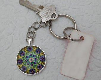 Colorful, Pendant Key Chain, Key Ring, Glass Pendant Key Ring, Gift, Handmade, Key Ring Holder, Silver Key Ring, Key Chain