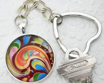 Swirl, Key Chain, Pendant Key Chain, Key Ring, Glass Pendant Key Ring, Gift, Handmade, Key Ring Holder, Silver Key Ring, Women Key Chain