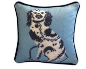 staffordshire blue dog 10 quot blended down pillow textile art made to order