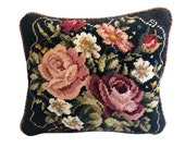 floral needlepoint pillow, custom designed, hand-stitched original design