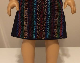 American Girl Doll Black Skirt with Embroidery