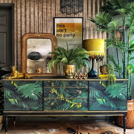 SOLD. Commissions using this print welcome. Stunning glam-cycled Mid Century Modern sideboard in custom printed Jungle Print