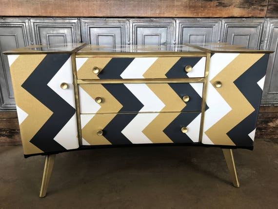 SOLD! Super cute vintage sideboard upcycled in chevron paper and gold