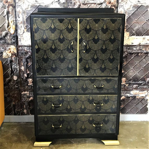 SOLD! Vintage 60s wooden cabinet upcycled in black and gold Deco style print