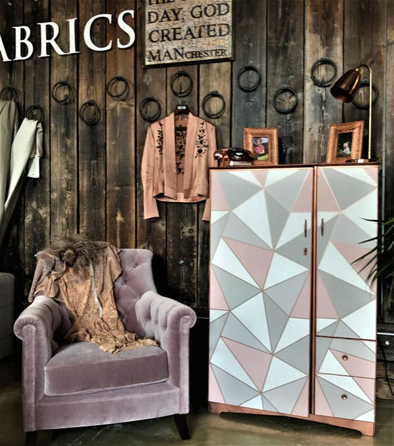 SOLD! fab blush pink and rose gold vintage cabinet tallboy up-cycled. Commissions welcome