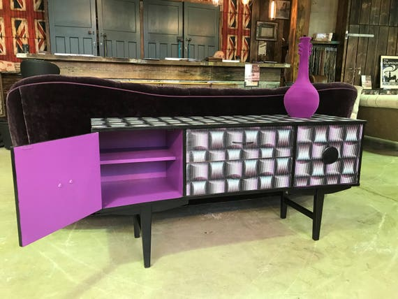 "A ""Trippy"" up-cycled vintage sideboard reimagined with 90s 'acid-house' paper"