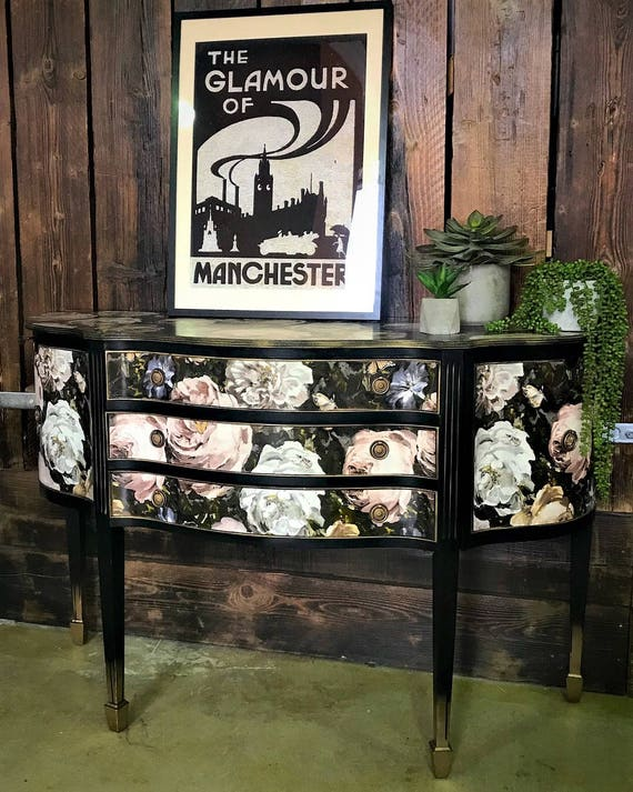 SOLD. Fabulous Georgian style vintage solid wood cabinet glamorised in luxury florals and black satin paint - COMMISSIONS WELCOME