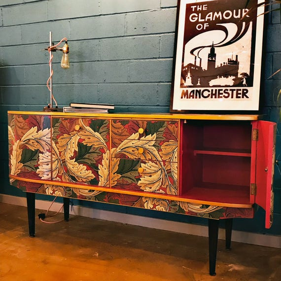 SOLD! Gorgeous Mid Century vintage sideboard with William Morris Acanthus design