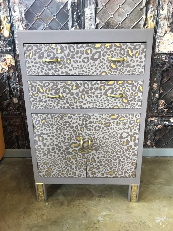 "SOLD! Commissions only. Vintage up cycled solid wood cabinet - Farrow & Ball ""Ocelot"" design"