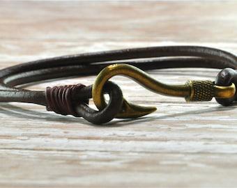 NEW!Fish Hook bracelet, Fish Hook Leather Bracelet, Leather Cuff bracelet, marine bracelet, boyfriend gift