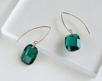 14K gold filled swarovski crystal flash emerald vintage earrings