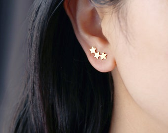 a96dbae43 1 piar,Gold Filled 3 Stars Ear Climber Studs,three shooting star, Tiny  Three Stars Earrings, Everyday ear pins, ear sweeps, Delicate Studs