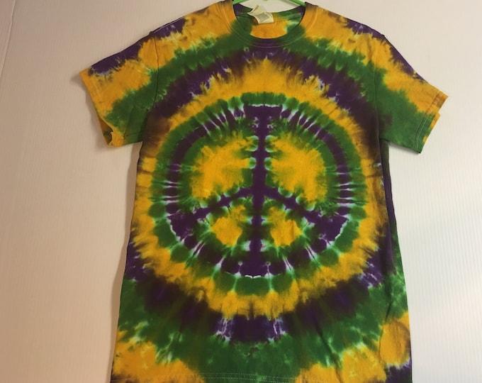 Mardi Gras Peace Symbol Tie Dye Tee Shirt