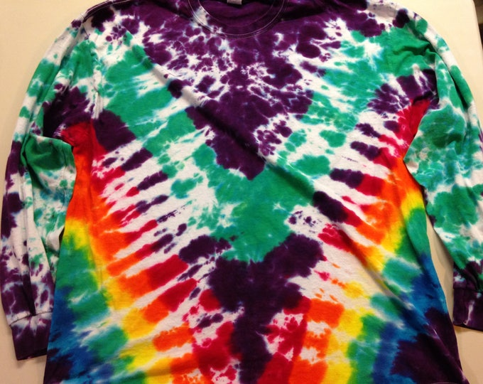 Marbled Rainbow V Tie Dye Long Sleeve XXL