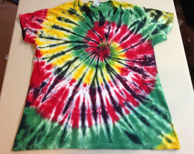 Ladies V-neck Rastafarian Colored Spiral Tie Dyed Tee Multiple sizes