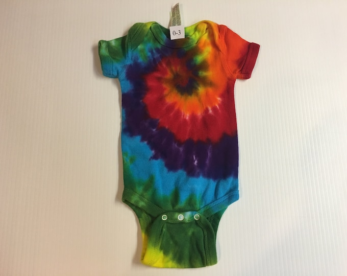 Tie Dyed Rainbow Spiral Baby Onesie all sizes