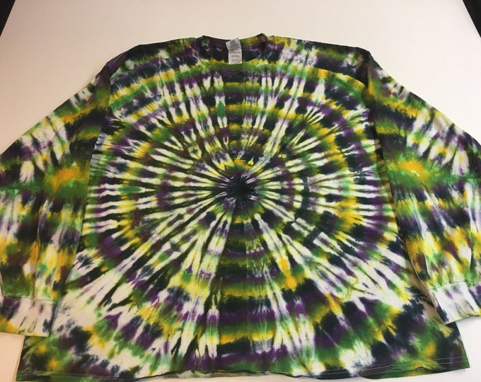 Mardi Gras Tie Dye Long Sleeved Shirt  Black hole Adult 3X