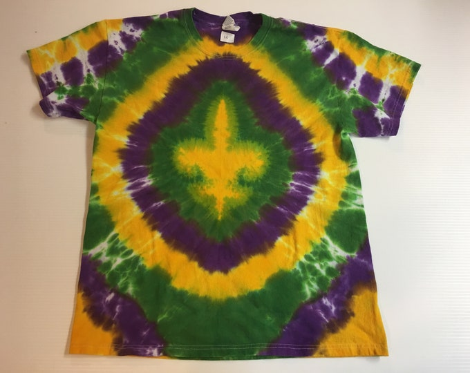 Purple Green and Gold Mardi Gras Fleur de Lis Tie Dyed Tee size large