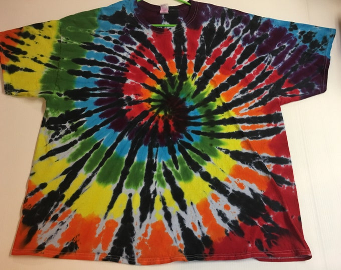 Rainbow black Spiral Tie Dye Tee all sizes
