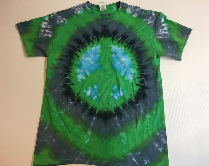 Peace Symbol Crew Neck Tie Dye T shirt medium