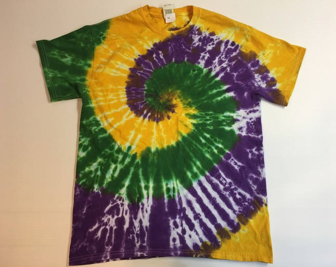 Mardi Gras Spiral Tie Dye Tee Shirt all sizes