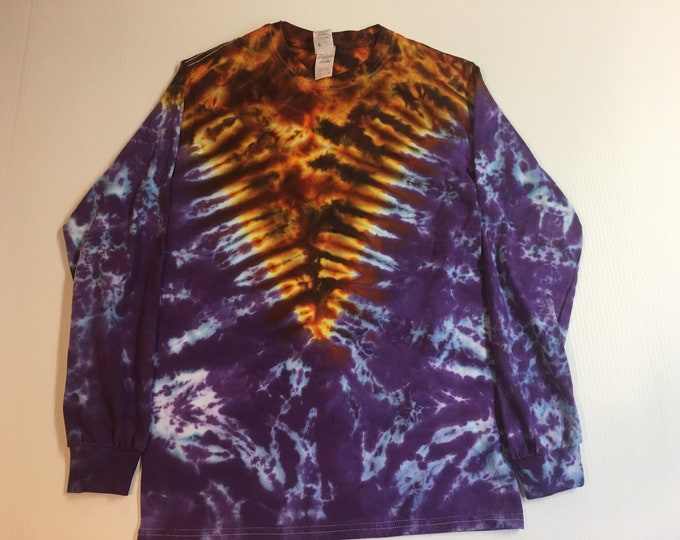 Tie Dyed Long Sleeved Tee Small and Large Purple Fire