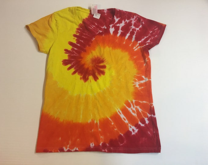 Ladies sized  Medium Red orange yellow spiral Tie Dye V Neck