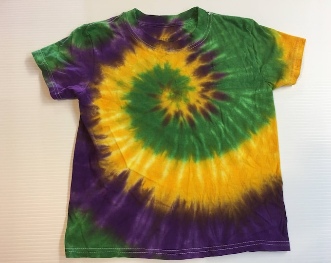 Mardi Gras Spiral Tie Dye Kids Shirt all sizes