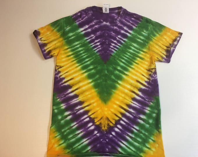 Mardi Gras V pattern Tie Dye Tee Shirt all sizes