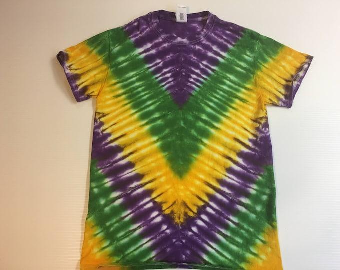 Mardi Gras V pattern Tie Dye Tee Shirt all sizes