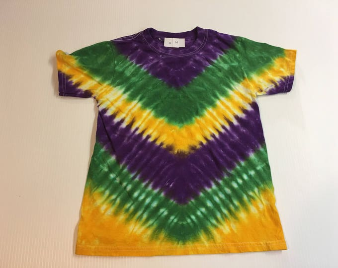 Mardi Gras V-pattern Tie Dye Kids Shirt all sizes