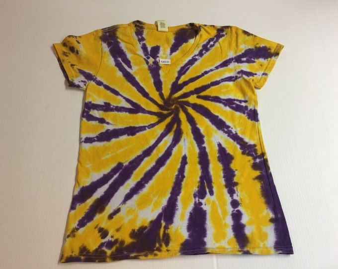 Ladies Purple and Gold Starburst Spiral Tie Dyed V Neck Tee