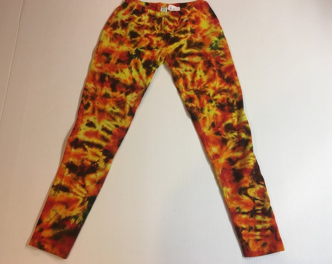 Tie Dyed fire / lava leggins / yoga pants XS