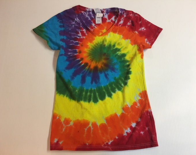 Ladies V-neck Rainbow Spiral Tie Dyed Tee Multiple sizes
