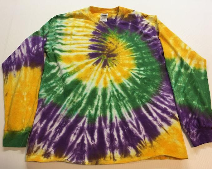 Mardi Gras Spiral Tie Dye Long Sleeved Tee Shirt