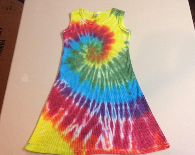 Child Rainbow Tie Dyed Spiral Dress sizes 6, 8