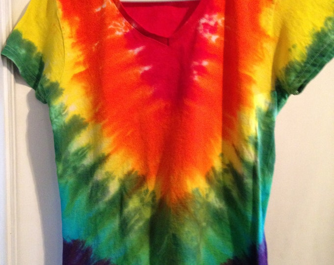 Ladies one of a kind  V-pattern Rainbow Tie Dyed Tee