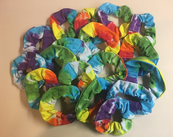 Tie dyed hand made scrunchies
