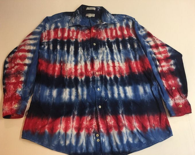 One of a Kind Red and Blue Tie Dyed Collard Button Down Shirt