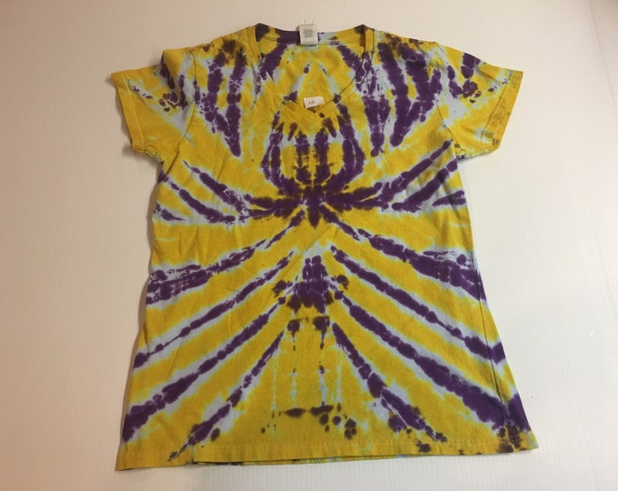 Ladies Purple and Gold Spider Spiral Tie Dyed V Neck Tee