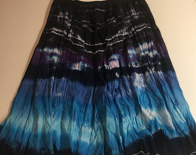 Tie Dyed Cotton Crinkled Maxi Skirts 26W
