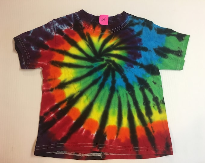 Rainbow Spiral Tie Dyed Kid's Tee Shirt all sizes