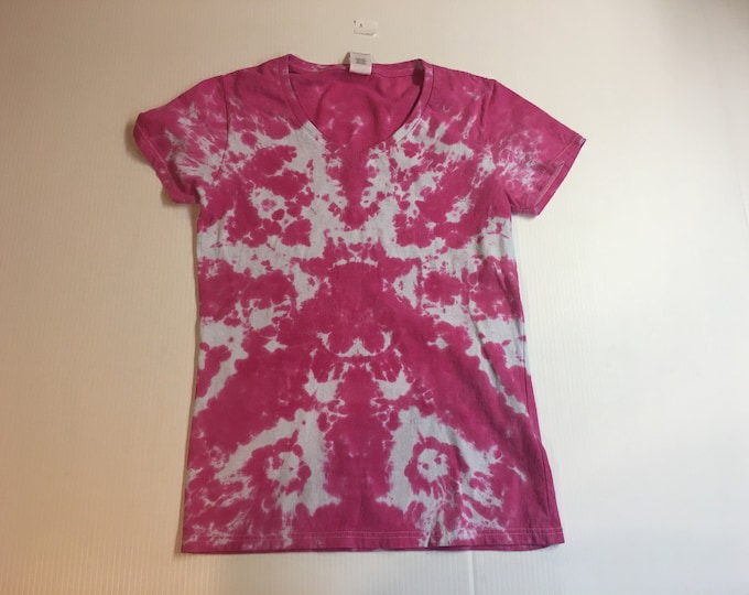 Ladies One of a Kind Pink Tie Dyed V Neck