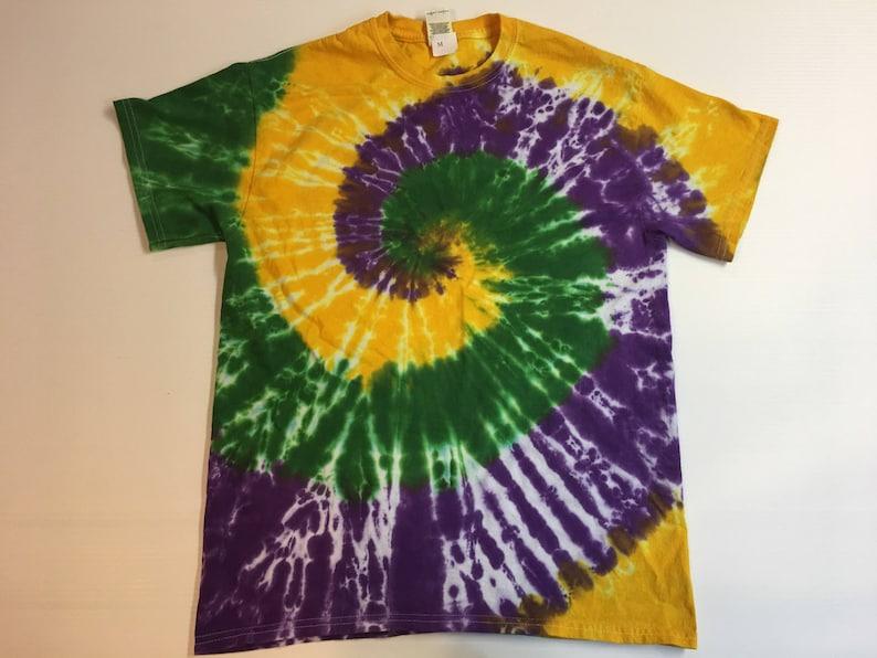 0264aed9231a6 Mardi Gras Spiral Tie Dye Tee Shirt all sizes