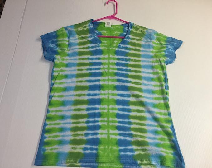Ladies Sized Striped Tie Dye V Neck